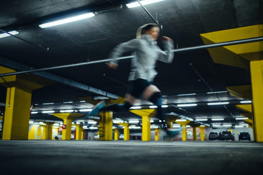 CannaPeake athlete working out in parking garage